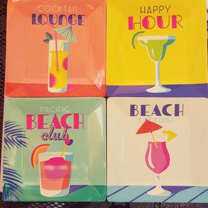 "NOVOGRATZ Outdoor 8"" Square Snack Plates Cocktail"